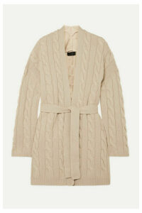 Nili Lotan - Serene Belted Cable-knit Cashmere Cardigan - Beige