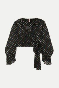 Agent Provocateur - Sidnie Polka-dot Silk-chiffon Wrap Top - Black
