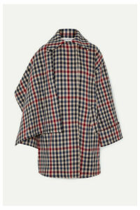 JW Anderson - Draped Checked Wool-blend Coat - Navy
