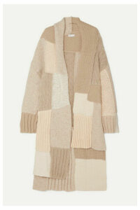 Rosetta Getty - Tie-detailed Patchwork Knitted Cardigan - Beige
