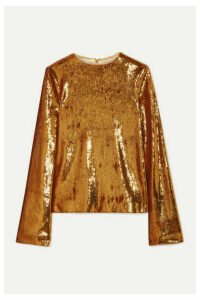 Galvan - Clara Sequined Satin Top - Saffron