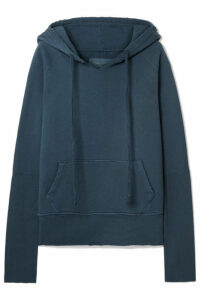 Nili Lotan - Janie Distressed Cotton-jersey Hoodie - Blue