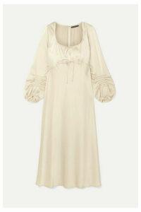 ALEXACHUNG - Phoenix Pintucked Satin Midi Dress - Cream