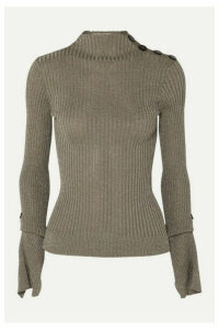 Roland Mouret - Kiruna Metallic Ribbed-knit Sweater - Silver