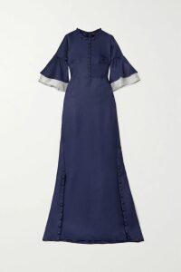 Akris - Flore Stretch-velvet Wide-leg Pants - Blue