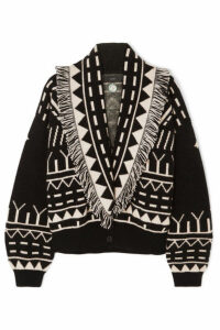 Alanui - Fringed Cashmere And Wool-blend Jacquard Cardigan - Black