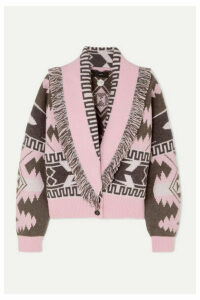 Alanui - Icon Fringed Cashmere And Wool-blend Jacquard Cardigan - Pink