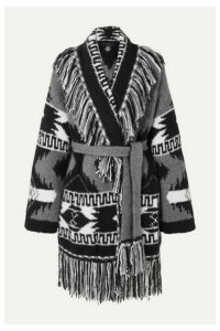 Alanui - Fringed Cashmere And Silk-blend Jacquard Cardigan - Black