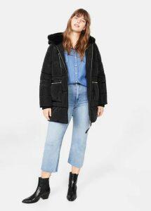 Faux fur hood coat
