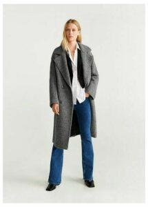 Fur bouclé wool coat