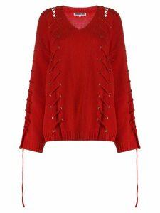 McQ Alexander McQueen oversized v-neck jumper - Red