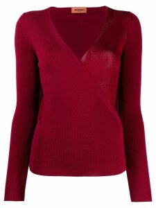 Missoni wrap style v-neck jumper - Red