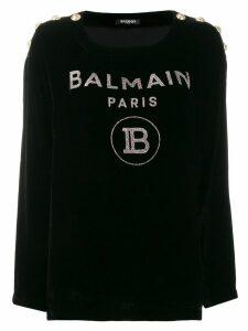 Balmain glitter logo velvet jumper - Black