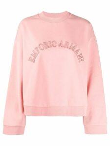 Emporio Armani embroidered logo sweatshirt - PINK