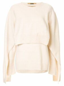 System deconstructed knit sweater - NEUTRALS