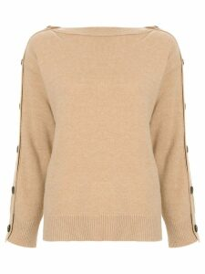 System buttoned long sleeve jumper - Brown