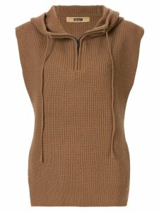 System hooded sleeveless jumper - Brown