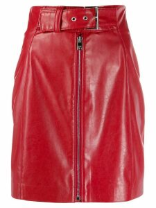 MSGM belted zip-front mini skirt - Red