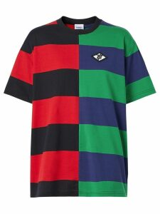 Burberry Contrast Stripe Cotton Oversized T-shirt - Multicolour