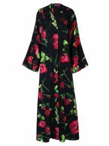 Dolce & Gabbana printed roses kimono dress - Black