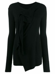 Yohji Yamamoto asymmetric V-neck jumper - Black