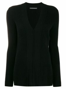Alberta Ferretti ribbed V-neck sweater - Black