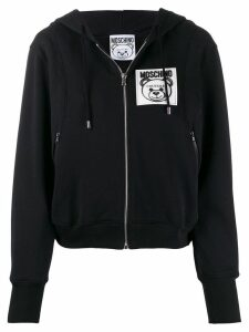 Moschino zip-front logo patch hoodie - Black