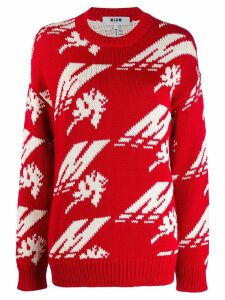 MSGM intarsia knit jumper - Red
