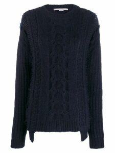 Stella McCartney frayed cable knit jumper - Blue