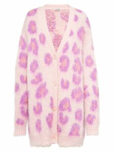 Miu Miu leopard oversized cardigan - PINK