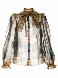 Dolce & Gabbana renaissance print blouse - Brown