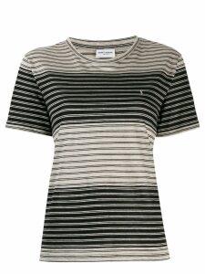 Saint Laurent embroidered striped logo T-shirt - Black