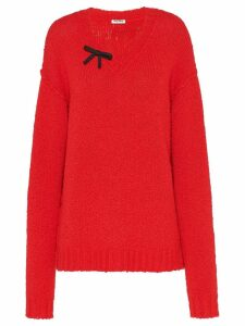 Miu Miu bow detailed jumper - Red