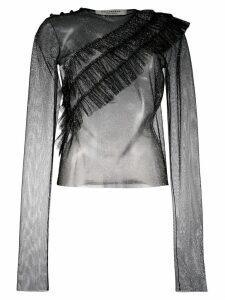 Philosophy Di Lorenzo Serafini sheer ruffle front blouse - Black