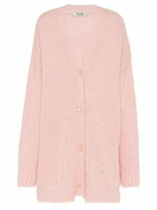 Miu Miu embellished oversized cardigan - Pink