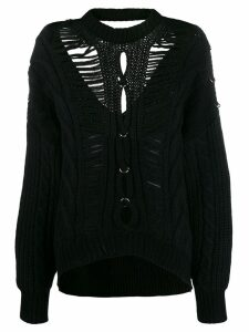 Diesel Black Gold slashed cable-knit cardigan