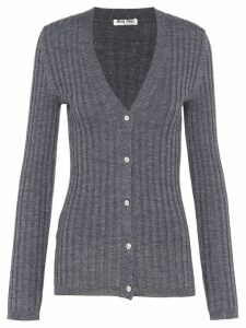 Miu Miu ribbed knit cardigan - Grey