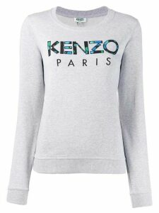 Kenzo embroidered floral-print logo sweatshirt - Grey