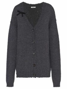 Miu Miu bow detail distressed-effect cardigan - Grey