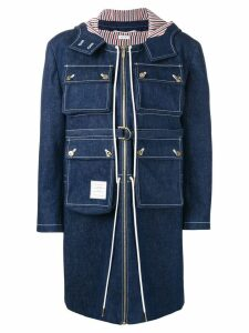 Thom Browne hunting washed denim cardigan overcoat - Blue