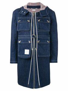 Thom Browne hunting washed denim cardigan overcoat - Blue