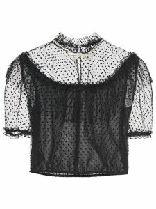 Miu Miu embroidered tulle blouse - Black
