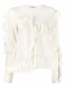 Stella McCartney asymmetric fringed knitter sweater - White
