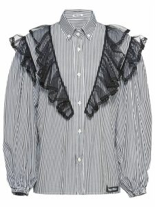 Miu Miu tulle insert striped shirt - Black