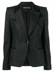 Tom Ford leather lapel jacket - Black