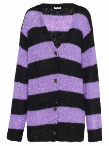 Miu Miu sequin-embellished striped cardigan - Purple