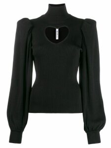 MSGM cut-out heart ribbed jumper - Black
