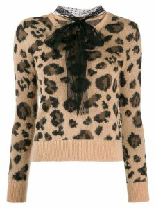 RedValentino pussybow leopard print jumper - NEUTRALS