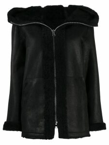 Sylvie Schimmel hooded leather jacket - Black