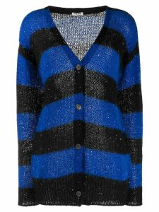 Miu Miu sequins embellishment striped cardigan - Blue